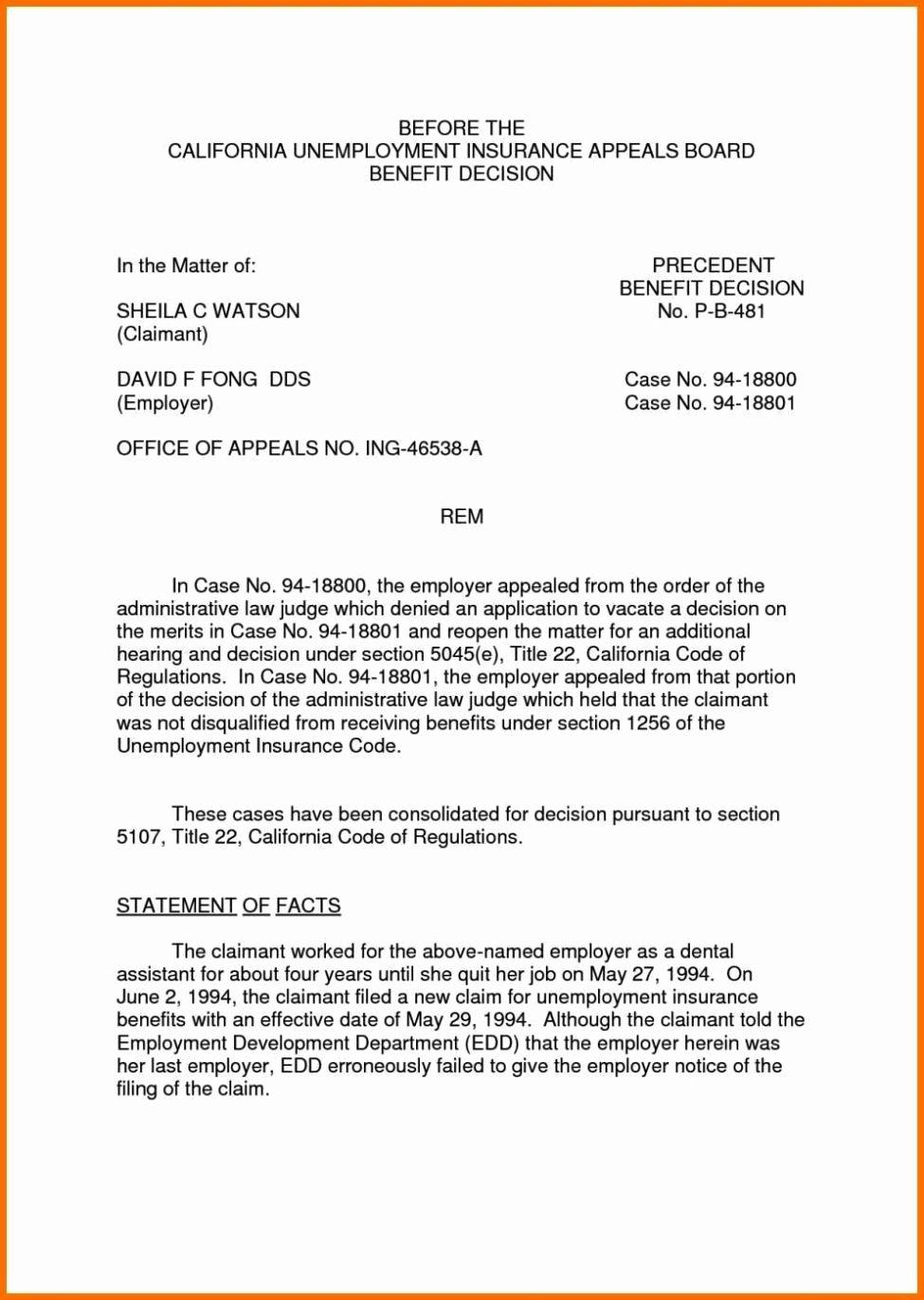 Unemployment Appeal Letter Beautiful Sample Appeal Letter for Unemployment Denial