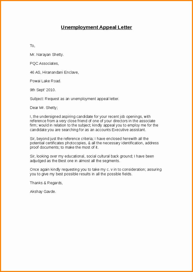 Unemployment Appeal Letter Elegant 12 Sample Unemployment Appeal Letter