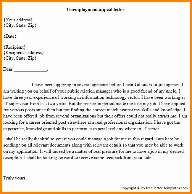 Unemployment Appeal Letter Fresh 12 Sample Unemployment Appeal Letter