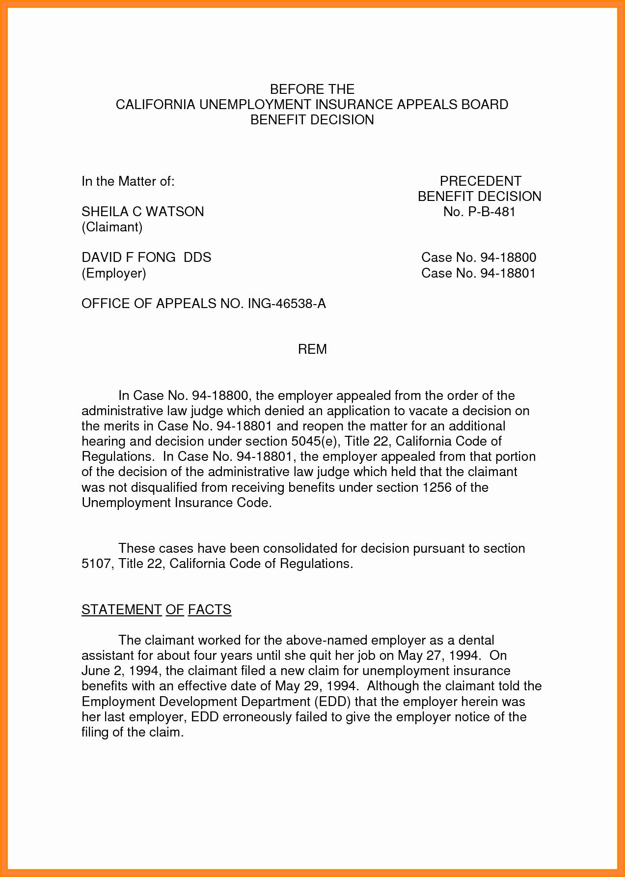 Unemployment Appeal Letter New 12 Sample Unemployment Appeal Letter
