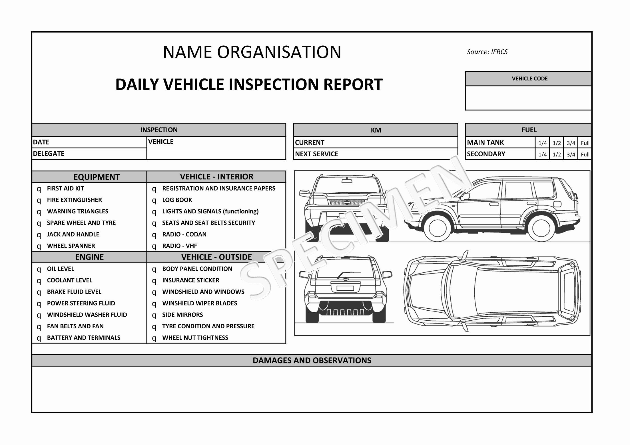 auto condition report templates