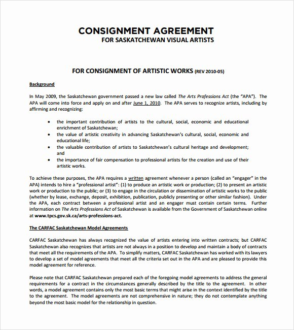Vehicle Consignment Agreement New 11 Sample Consignment Agreements Word Pdf