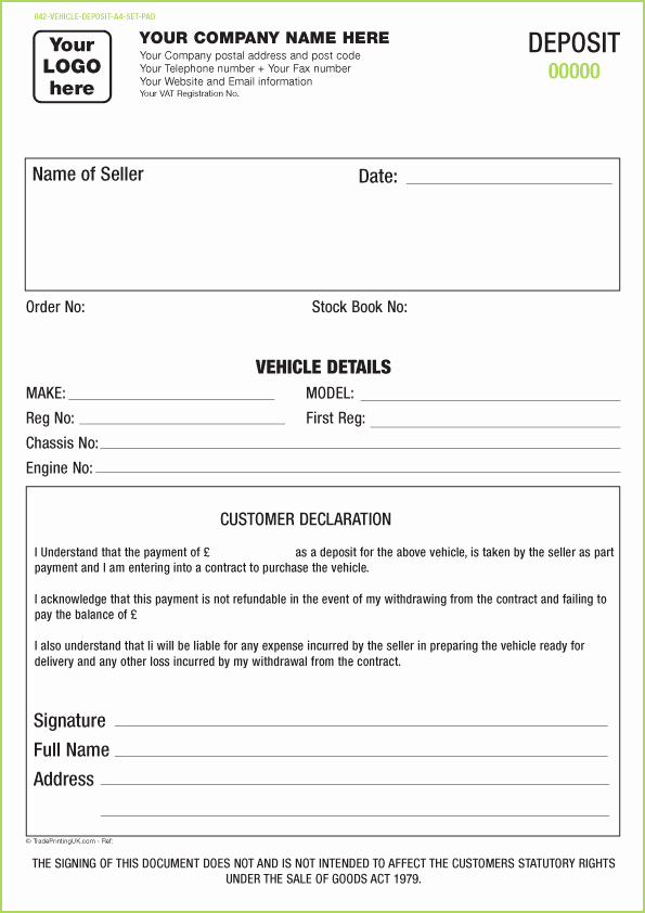 vehicle forms ncr templates pads