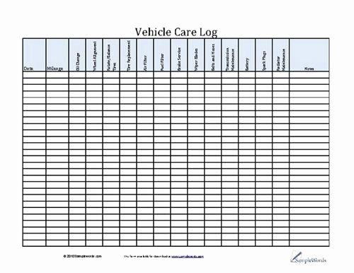 Vehicle Maintenance Checklist Excel Best Of Vehicle Care Log Printable Pdf form for Car Maintenance