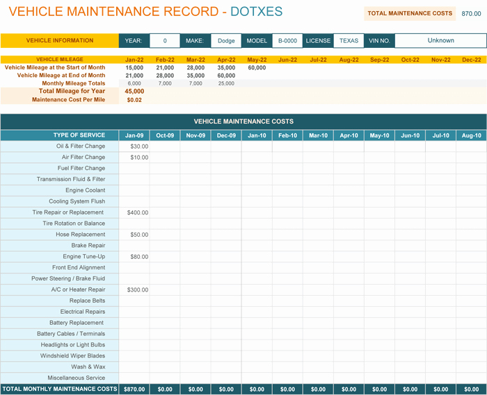 Vehicle Maintenance Checklist Excel Elegant Vehicle Maintenance Log Template for Excel Monthly Dotxes