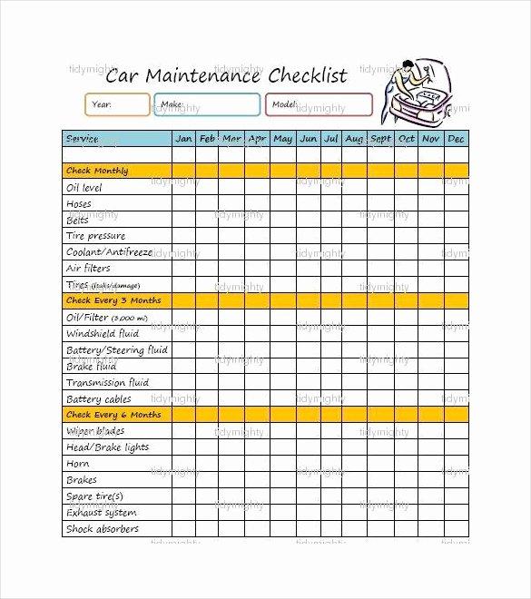 Vehicle Maintenance Checklist Excel Inspirational 28 Maintenance Checklist Templates Pdf Doc