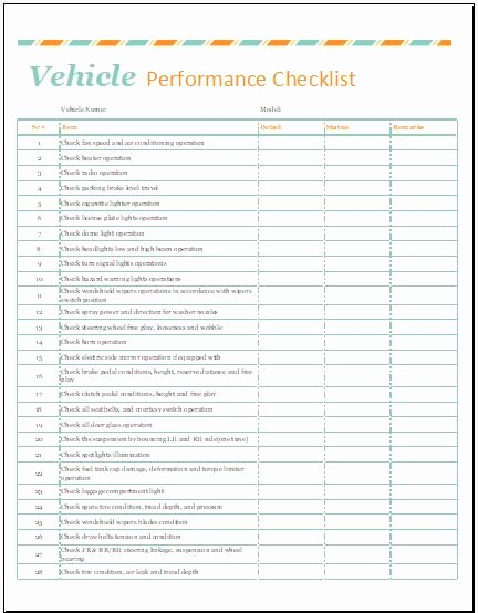 Vehicle Maintenance Checklist Excel Lovely Vehicle Performance Checklist Template for Excel