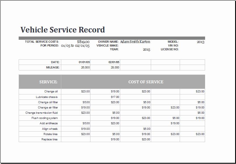 Vehicle Maintenance Checklist Excel New 11 Service Log Templates Excel Templates