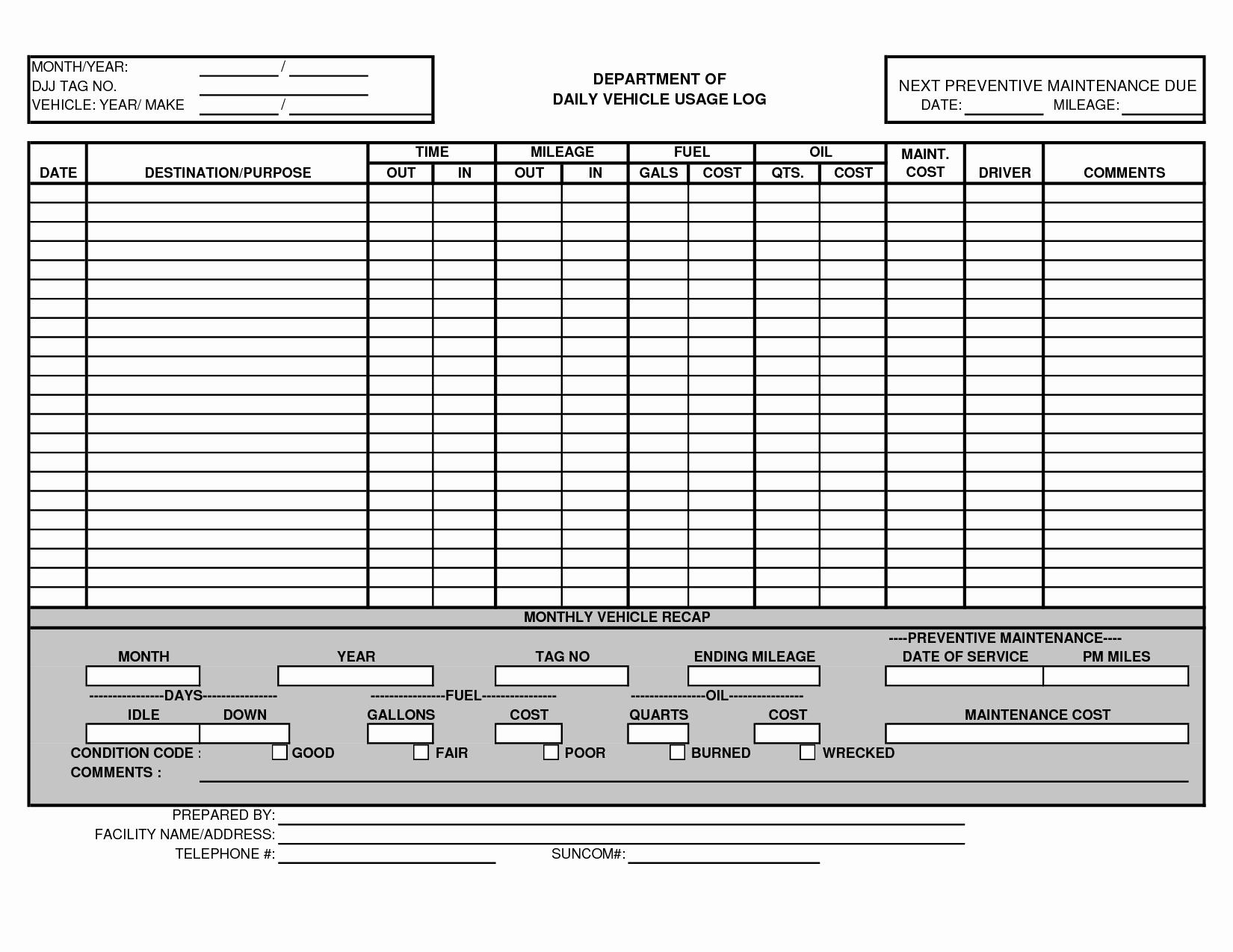 Vehicle Maintenance Spreadsheet Inspirational Vehicle Maintenance Log Template Excel Ewolf
