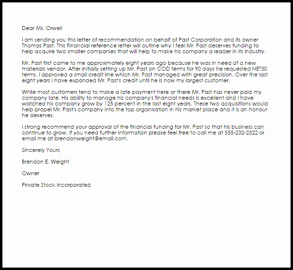 financial reference letter