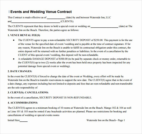 Venue Rental Agreement Template Awesome 14 Vendor Contract Templates – Samples Examples & format