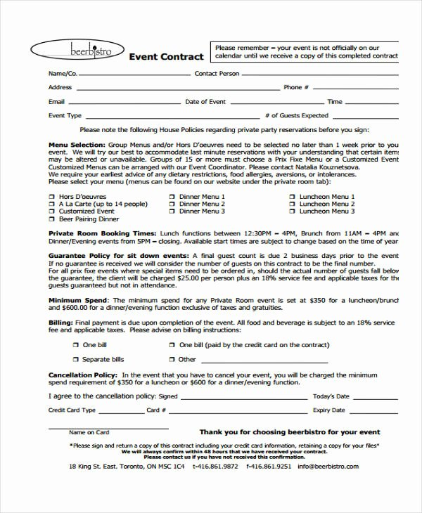 Venue Rental Agreement Template Best Of 11 event Contract Templates Free Sample Example format