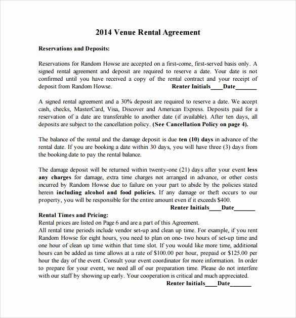 Venue Rental Agreement Template Elegant 21 Wedding Contract Samples