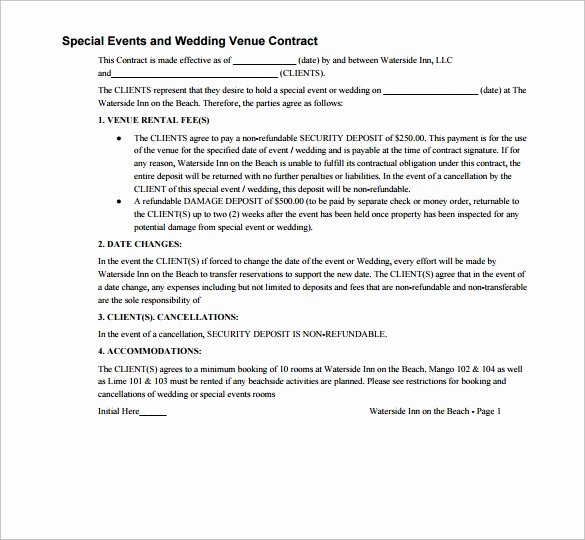 Venue Rental Agreement Template Fresh 20 Wedding Contract Templates to Download