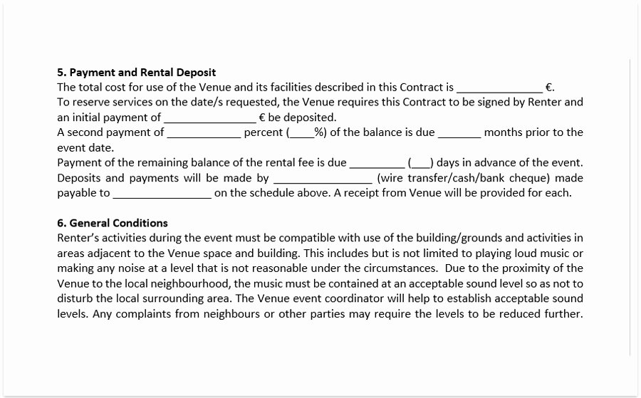 Venue Rental Agreement Template Inspirational event Venue Contract Template A Free Pdf Venue