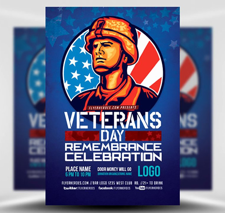 Veterans Day Flyer Template Free Elegant Veterans Day Remembrance Celebration Flyer Template