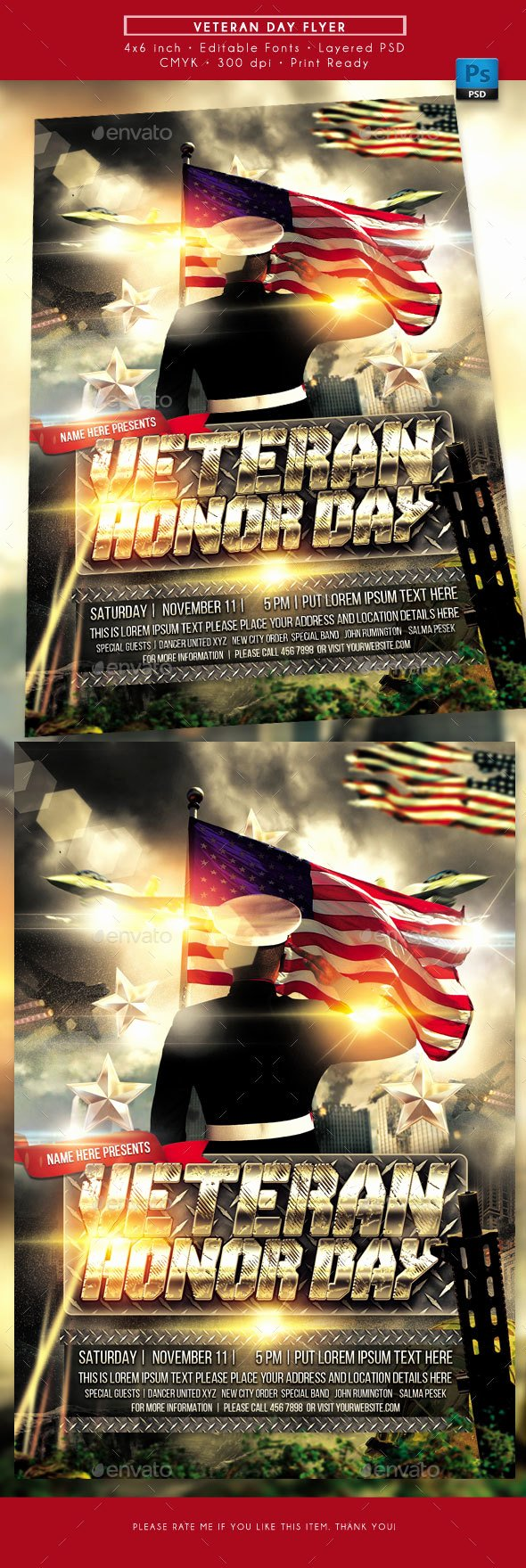 Veterans Day Flyer Template Free Inspirational Veterans Day Flyer by Rudydesign