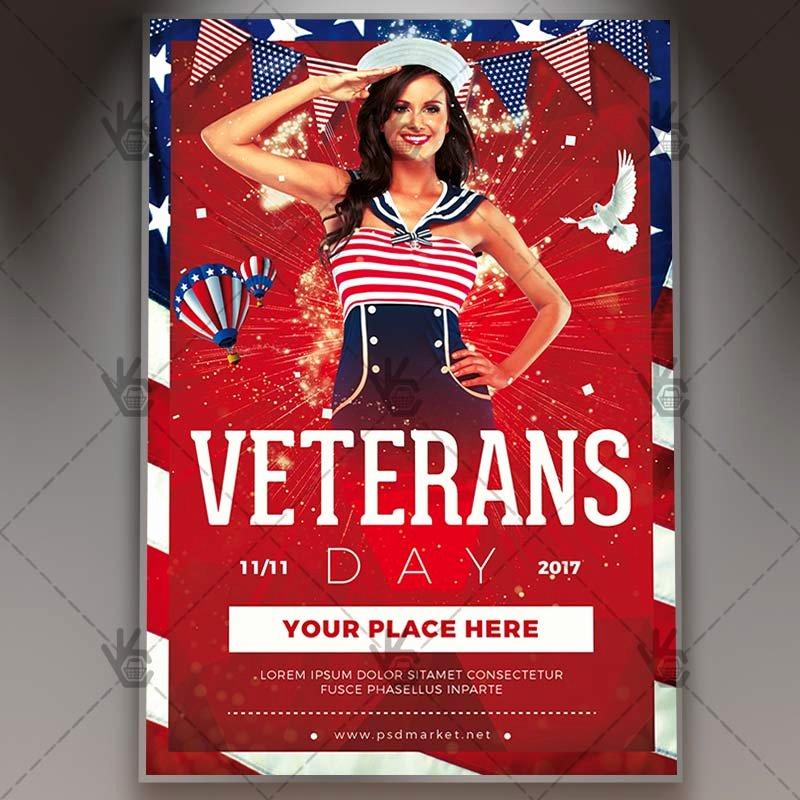 Veterans Day Flyer Template Free Unique Happy Veterans Day American Flyer Psd Template