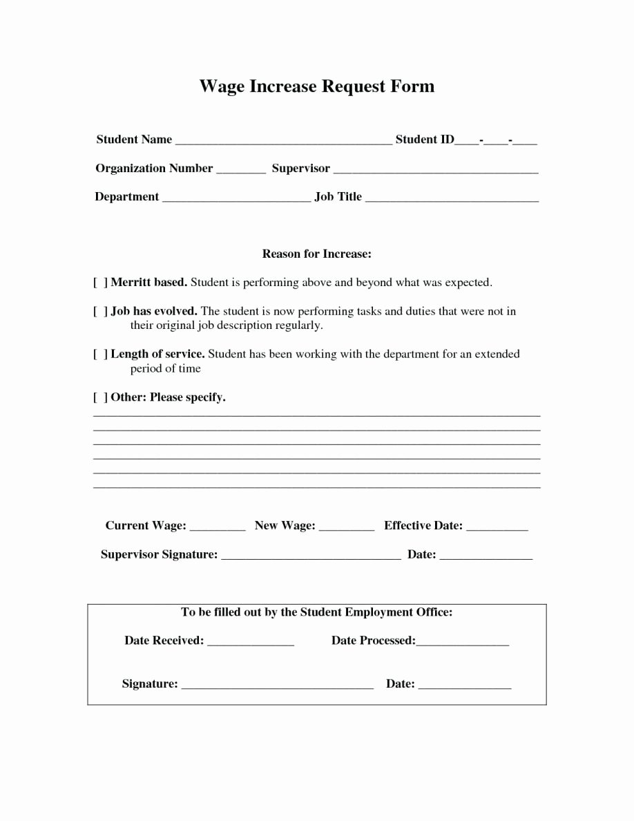 Wage Increase form New No Salary Increase Letter Template From Employer to