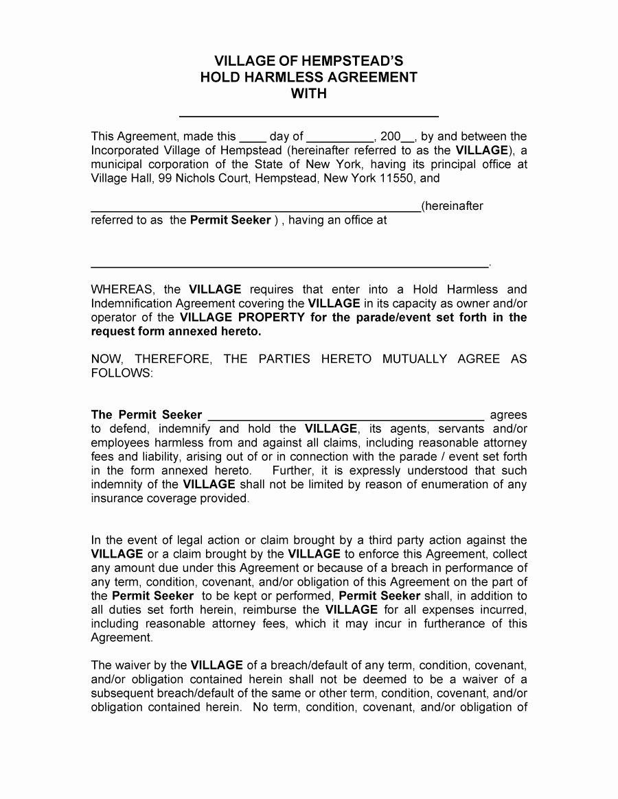 Waiver Template Word Awesome 41 Free Hold Harmless Agreement Templates Free Free