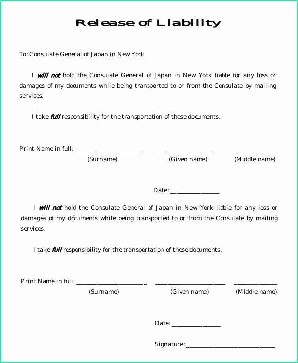 Waiver Template Word Awesome General Liability Release form Image – Release Of