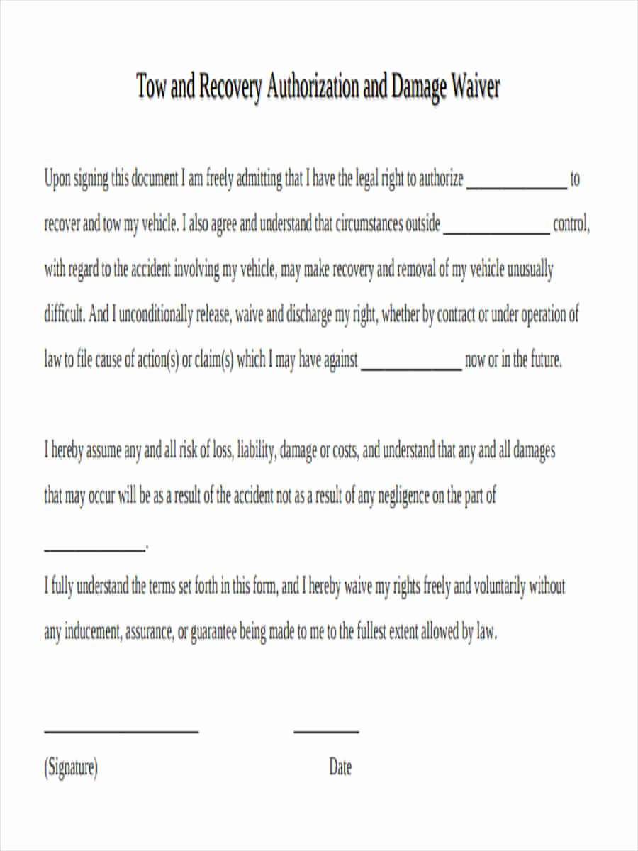 Waiver Template Word Best Of 6 Damage Waiver form 5 Free Documents In Word Pdf