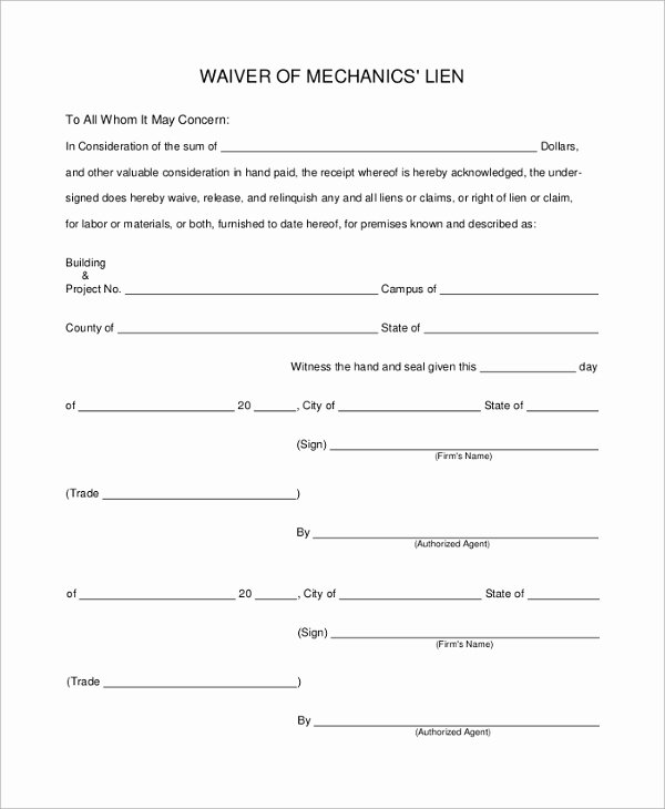 Waiver Template Word Elegant Sample Lien Waiver form 8 Examples In Pdf Word