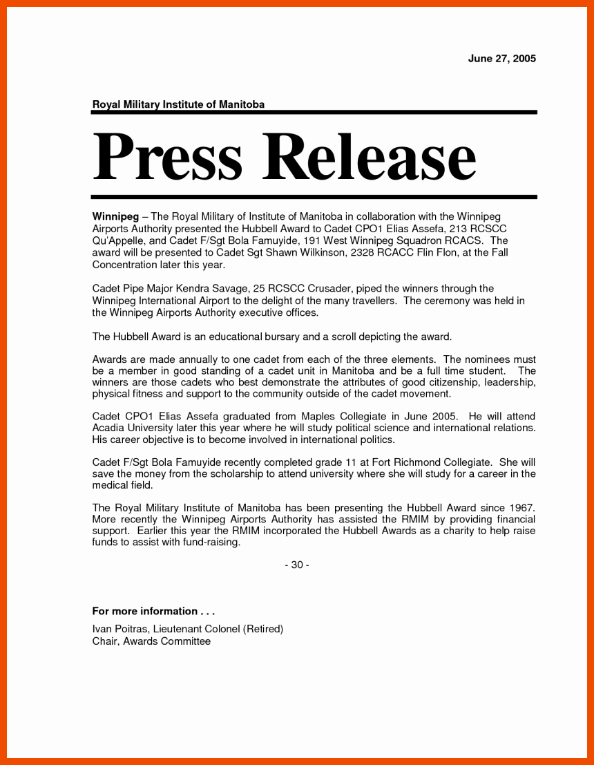 Waiver Template Word New 6 7 Press Release format