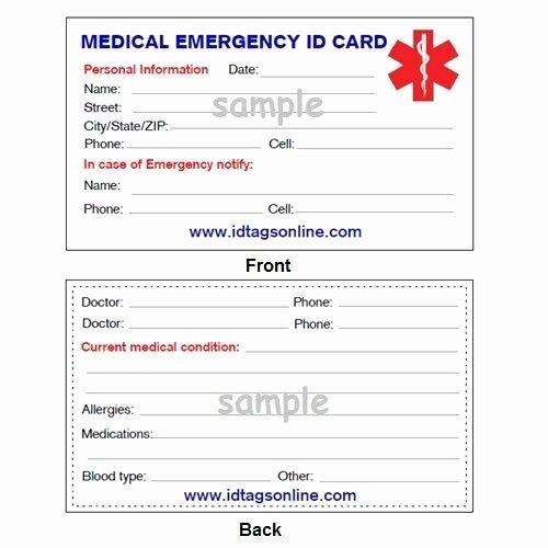Wallet Card Template Free Luxury Medical Emergency Wallet Card for Medical Alert Id