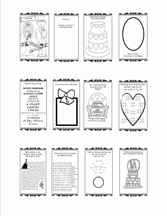 Wedding Coloring Book Templates Unique Wedding Activity Book Printable Customizable