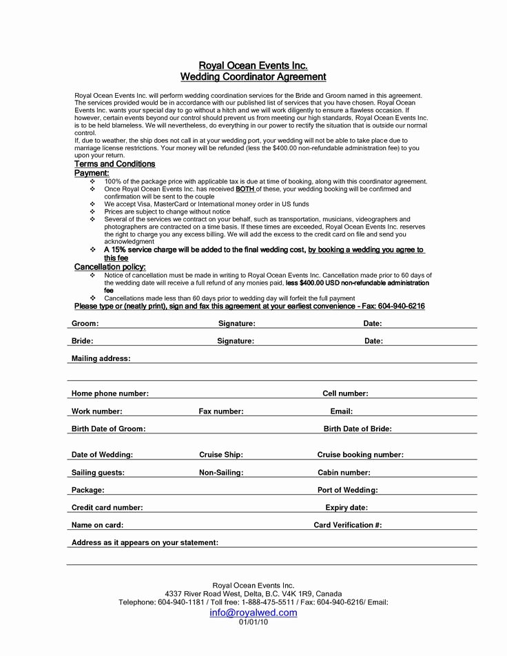 Wedding Coordinator Contract Awesome Wedding Planner Contract Sample Templates