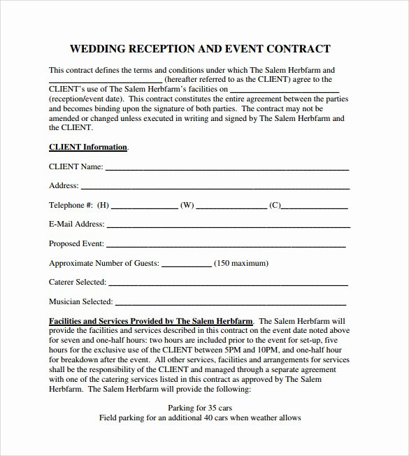 Wedding Coordinator Contract Beautiful event Contract Template 25 Download Documents In Pdf