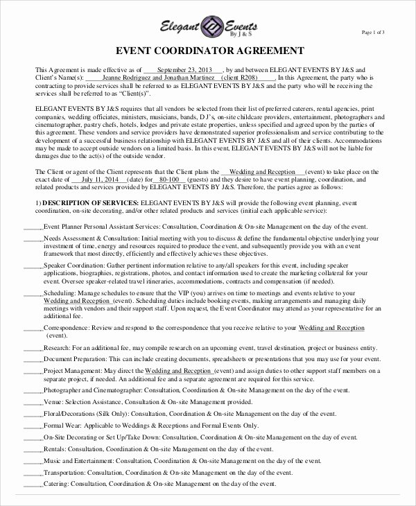 Wedding Coordinator Contract Best Of Sample event Contract Agreement 10 Examples In Word Pdf
