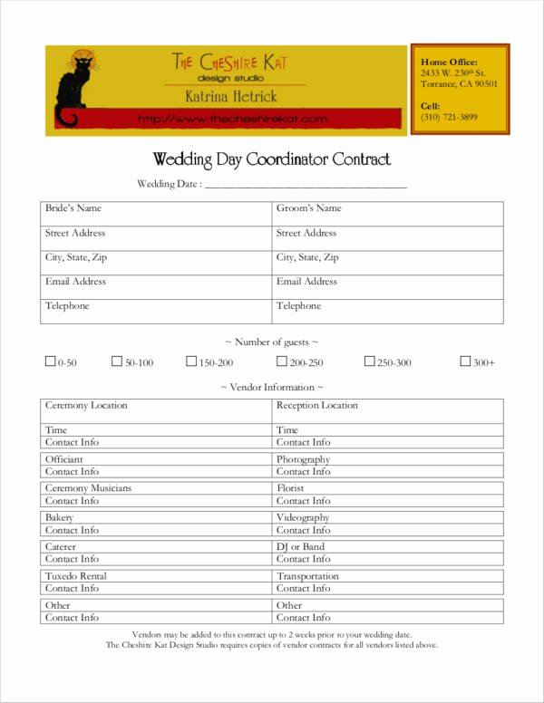 Wedding Coordinator Contract Lovely 5 Wedding Planner Contract Samples & Templates Word Pdf