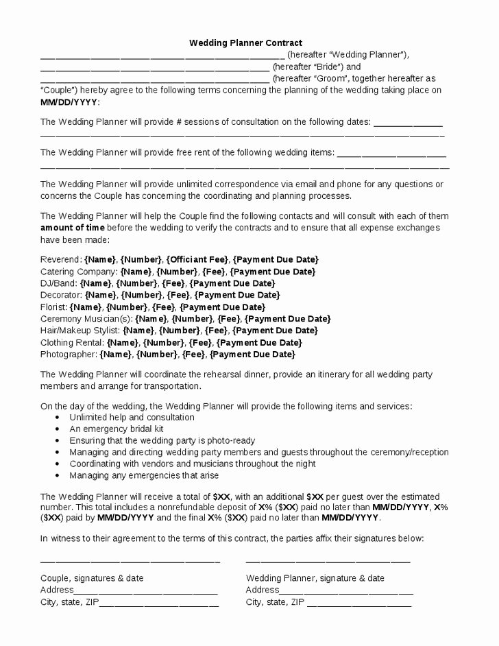 Wedding Coordinator Contract Lovely Wedding Planner Contract