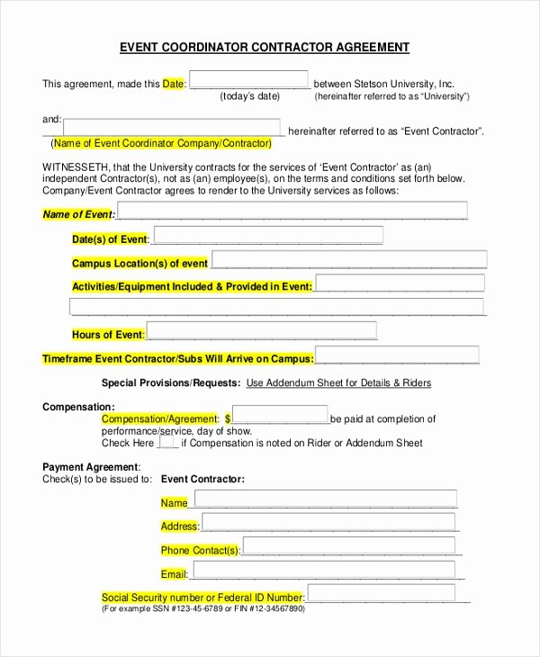 Wedding Coordinator Contract Luxury Sample event Contract form 10 Free Documents In Word Pdf