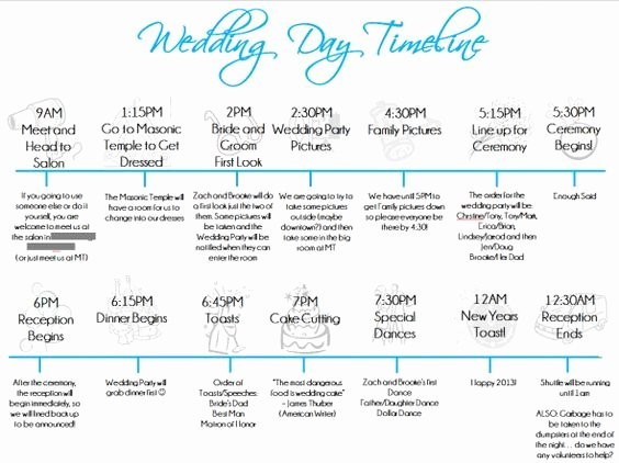 Wedding Day Timeline Template Free Lovely Wedding Day Timeline Template