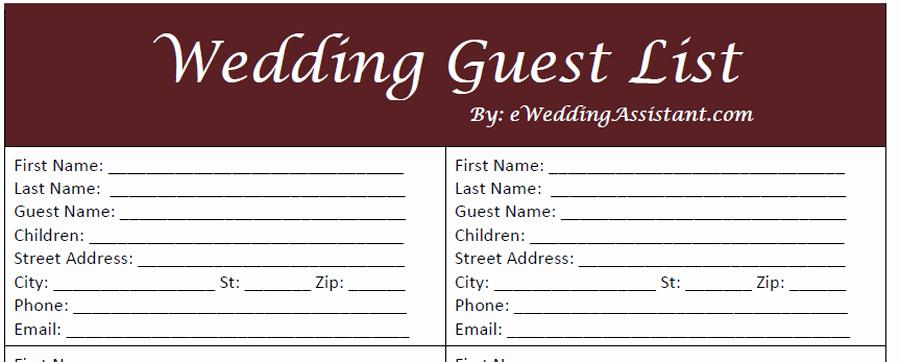 Wedding Guest List Pdf Unique 17 Wedding Guest List Templates Excel Pdf formats