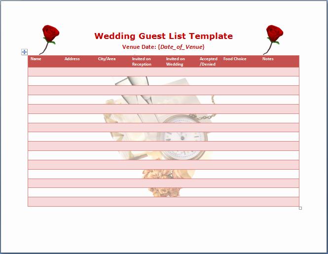Wedding Guest List Templates Free Elegant Wedding Guest List Template Word Templates