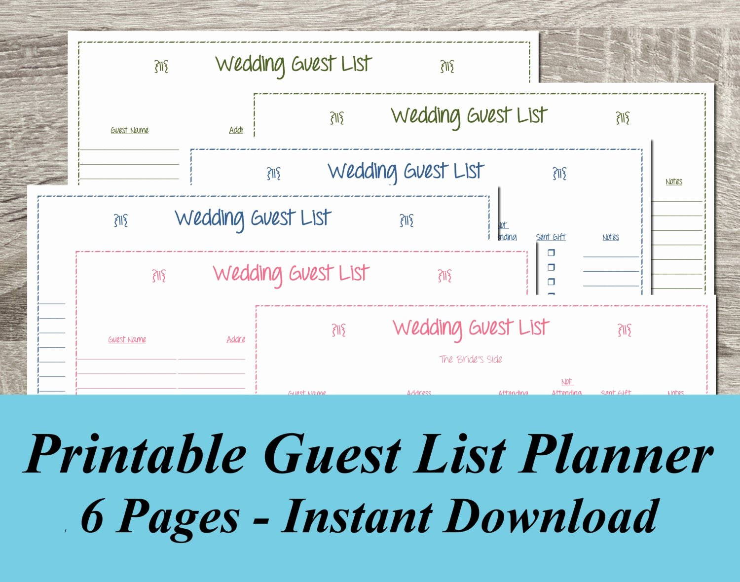Wedding Guest List Tracker Awesome Instant Download Wedding Guest List Pdf by