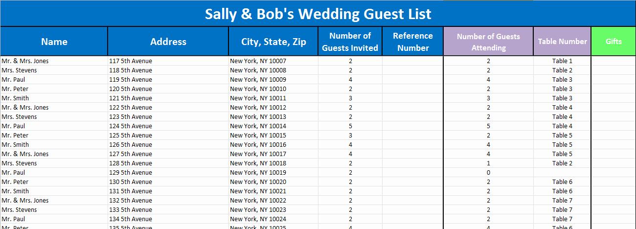 Wedding Guest List Tracker Awesome Wedding Guest List Tracker