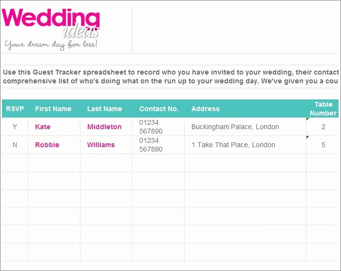 Wedding Guest List Tracker Best Of Wedding Guest List Template 6 Free Sample Example