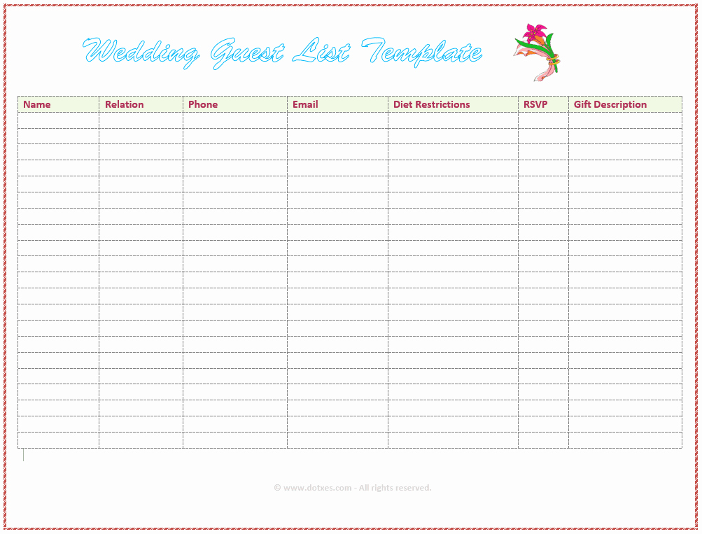 Wedding Guest List Tracker Elegant 7 Free Wedding Guest List Templates and Managers
