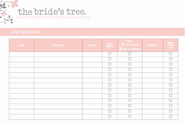 Wedding Guest List Tracker Fresh 5 Free Wedding Invitation List Templates Excel Pdf formats