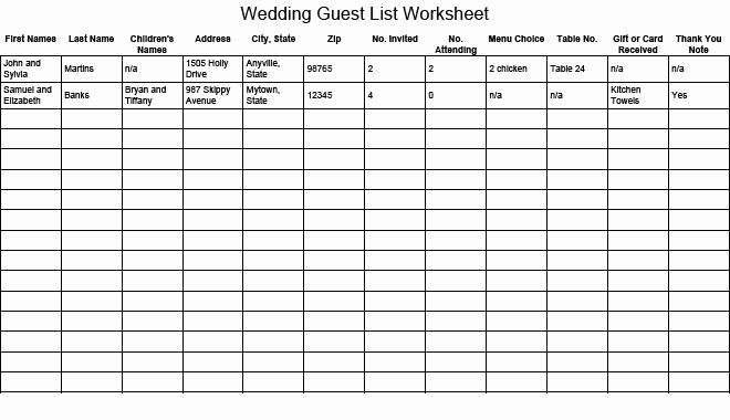 Wedding Guest List Tracker Lovely Gość Weselny Lista Arkusz Grsail