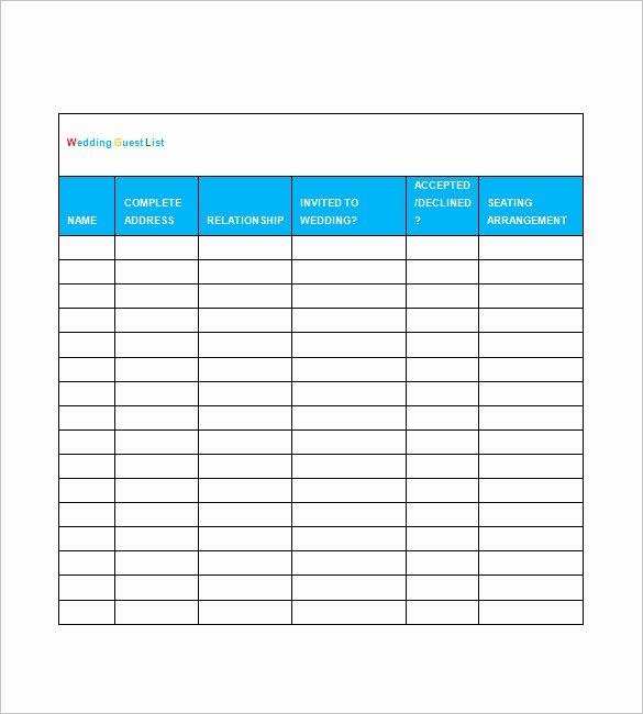 Wedding Guest List Tracker Unique Printable Wedding Guest List Template Spreadsheet