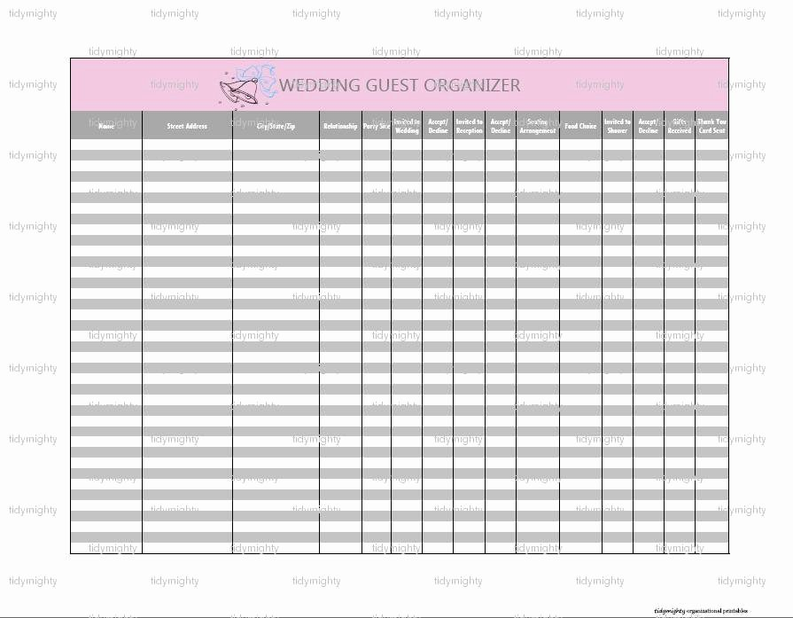 Wedding Guest List Tracker Unique Wedding Guest organizer Tracker Printable Pdf Instant