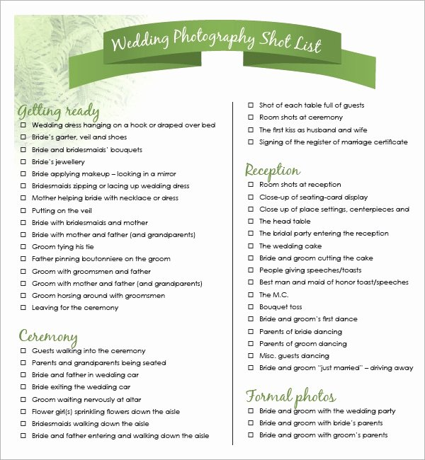 Wedding Photo Checklist Word Document Beautiful Shot List Template 10 Download Free Documents In Word Pdf