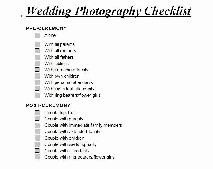 Wedding Photo Checklist Word Document Best Of Wedding Graphy Checklist
