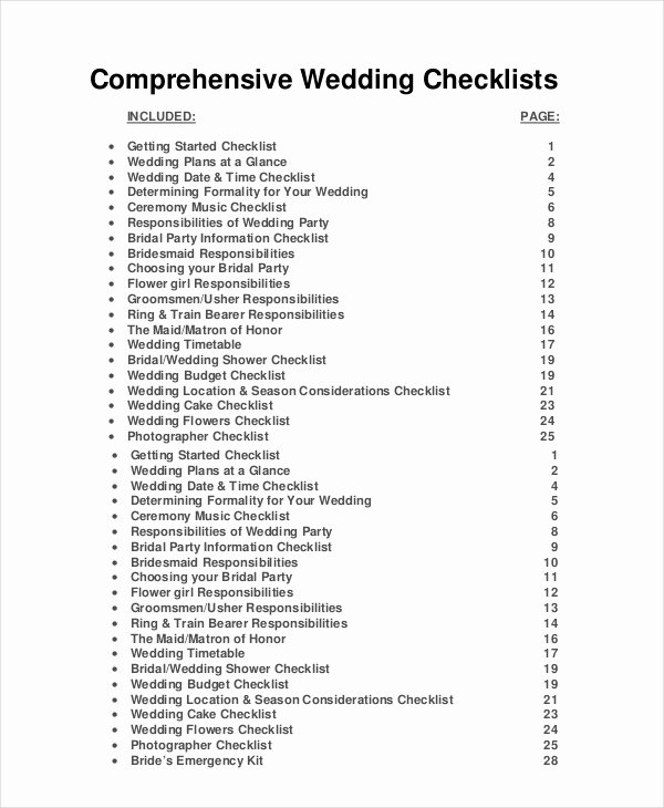 Wedding Photo Checklist Word Document Elegant Wedding Planner Checklist 12 Free Word Pdf Psd